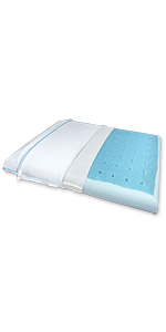 Slim Max Cool Memory Foam Pillow with CarbonBlue