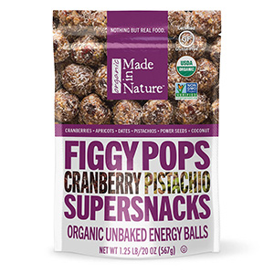 Made in Nature Figgy Pops Cranberry Pistachio Organic Fruit Nut Energy Ball