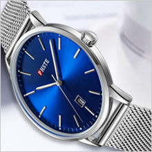 mens blue face simple thin watch rugged silver tone stainless steel mesh strap wristwatch black dial