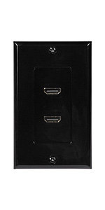 hdmi wall plate double port black