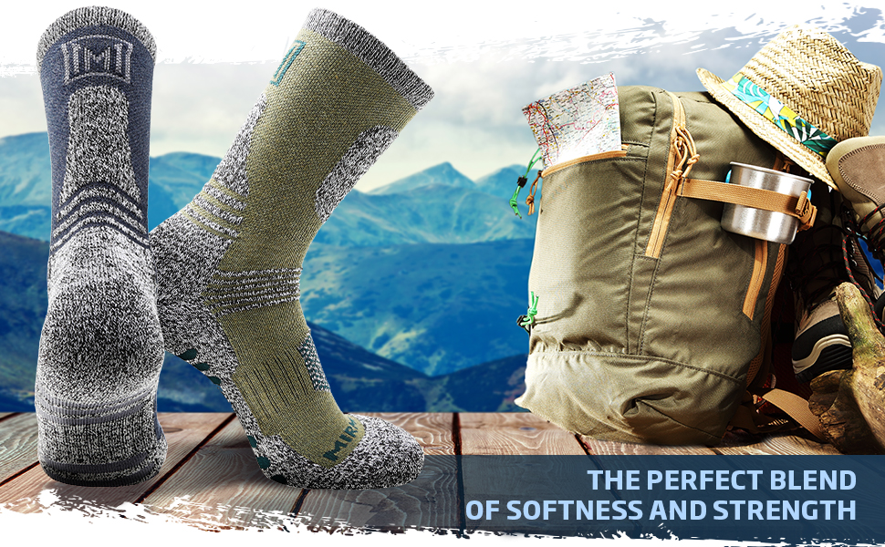 Outdoor Hiking Moisture Wicking Cushion Socks Ski Snowboarding Trail Trekking Running Climbing