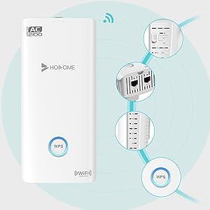 Hosome Repetidor WiFi 2100Mbps Amplificador WiFi 2.4GHz/5GHz Amplificador Señal WiFi con Ethernet WAN/LAN, WPS, Soporte de Antenas Duales ...