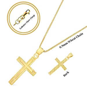 14K Yellow Gold Cross Charm Pendant with 0.9mm Wheat Chain Necklace