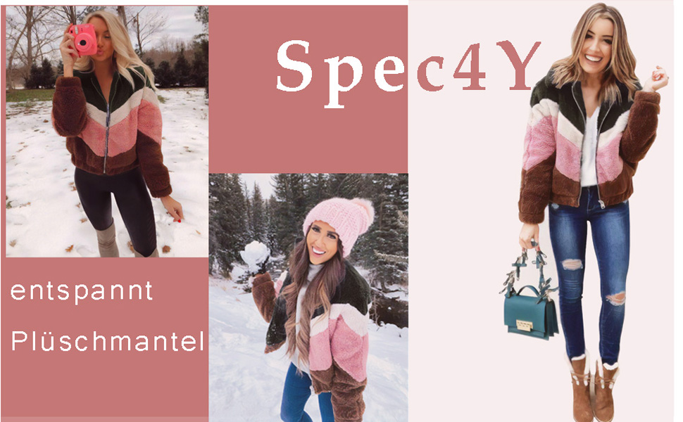Spec4Y Damen Mantel Pl/üsch Casual Leopard Cardigan Revers Faux Winterjacke Langarm Coat Outwear