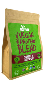 BodyMe Organic Vegan Protein Powders Blend or Plant Based Vegan Protein Powder - Coconut Raspberry