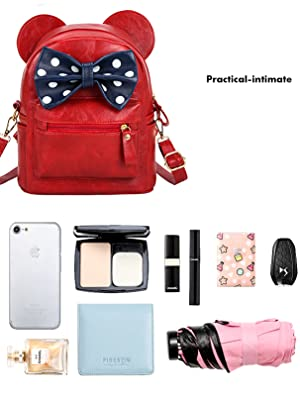 Small Size Sunwel Fashion Lovely Cute Bow Ears design Daily Backpack Travelling Casual Pu Leather Bag