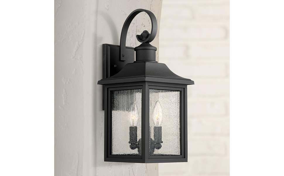 """Moray Bay 17 3/4"""" High Black 3-Light Outdoor Wall Light"""