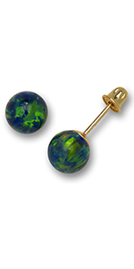 Jewelryweb Solid 14K Yellow Gold Green Simulated Opal 6mm Ball Post Stud Screw-back Earrings