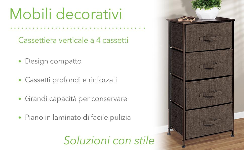 Organizer pratico con 4 cassetti mDesign Comodino in stoffa Cassettiera ideale per la camera da letto o per stanze piccole marrone scuro