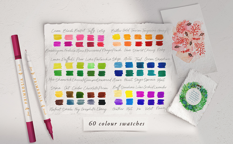 Primrosia Dual tip Markers 60 count colour swatches