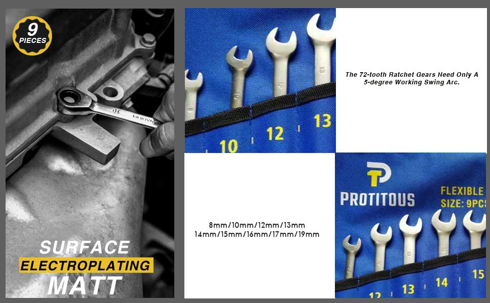 PROTITOUS 9-piece Ratchet Wrench Set Metric Ratcheting Wrench Set 8-10-12-13-14-15-16-17-19mm Ratcheting Wrenches Set w//Storage Bag 9-piece 8-10-12-13-14-15-16-17-19mm