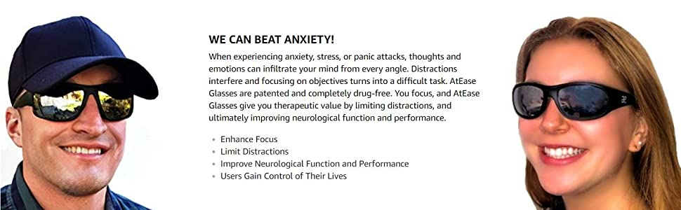 Focus AtEase Glasses Therapy Relief Insomnia ADD Fear Concentrate Anxiety PTSD Stress Focus Migraine