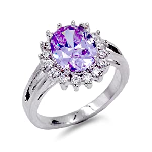 Lavencious Oval Shaped w.CZ  Party Rings in Purple