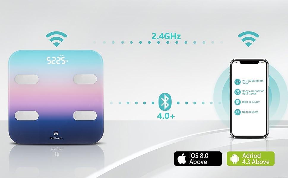 Báscula Grasa Corporal Conexión WiFi y Bluetooth