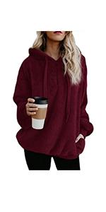 onlypuff Sherpa Pullover Hoodie Sweatshirt for Women Fuzzy Faux Fleece Warm Top