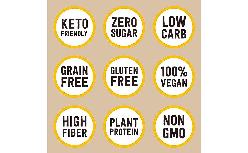 Keto Cereal, Zero Sugar, Low Carb, Grain Free, Gluten Free, Plant Protein, Non GMO, Vegan, Fiber
