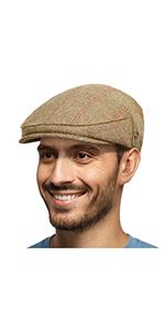 mens wool blend newsboy flat cap gatsby ivy hat winter fall khaki