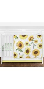 Yellow, Green and White Sunflower Boho Floral Baby Girl Nursery Crib Bedding Set