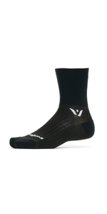 Swiftwick Performance Four, black crew socks, trail running socks, black cycling socks