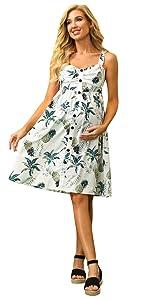 Materrnity Summer Casual Dress Floral V-Neck Sleeveless Spaghetti Strap Sundress