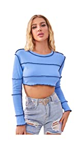 Casual Ribbed Knit Long Sleeve Crop Top Contrast Stitch T Shirt