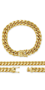 Cuban Link Bracelet Fashiom Jewelry Stainless Steel For Men Box Clasp Hip-Hop Style
