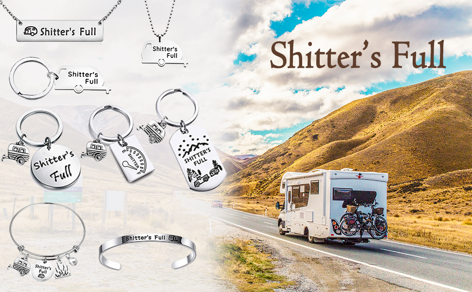 HOLLP Shitters Full Dog Tag Keychain Happy Camper RV Dog Tag Keychain/ Camping Keychain Trailer Christmas Vacation Jewelry