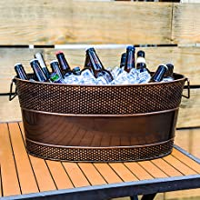 aspen, stainless, steel, large, hammered, beverage, bucket, ice, tub, cooler, outdoor, indoor, party