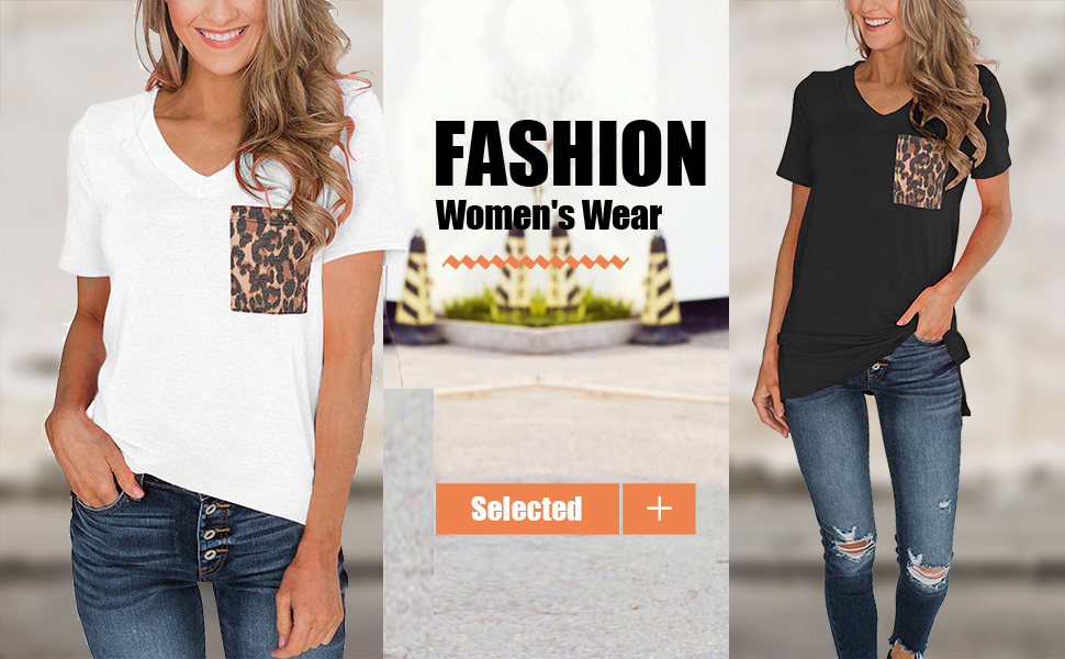 Leaf2you Womens V-Neck Short Sleeve Shirts Summer Fashion Colorful Leopard Print Pullover Tops Soft Comfy T-Shirt Blouses