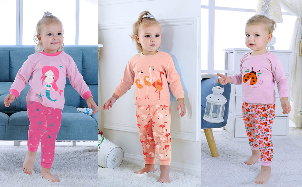 Little Hand Toddler Girls Pajamas Sets Ladybug 100/% Cotton Flamingo Unicorn Pjs Jammies Long Sleeve Kids Sleepwear for Size 2-7 T