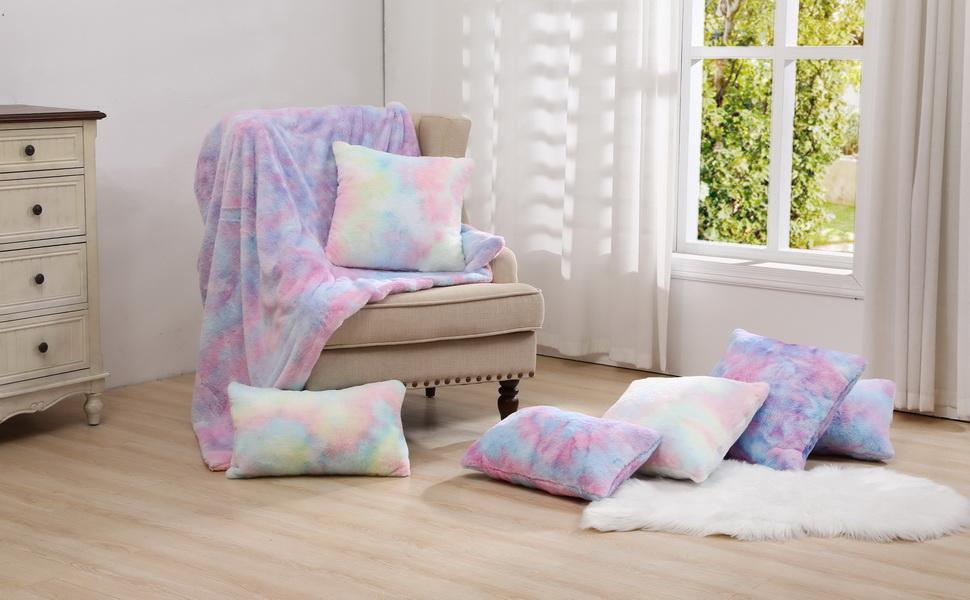 unicorn rainbow throw pillow