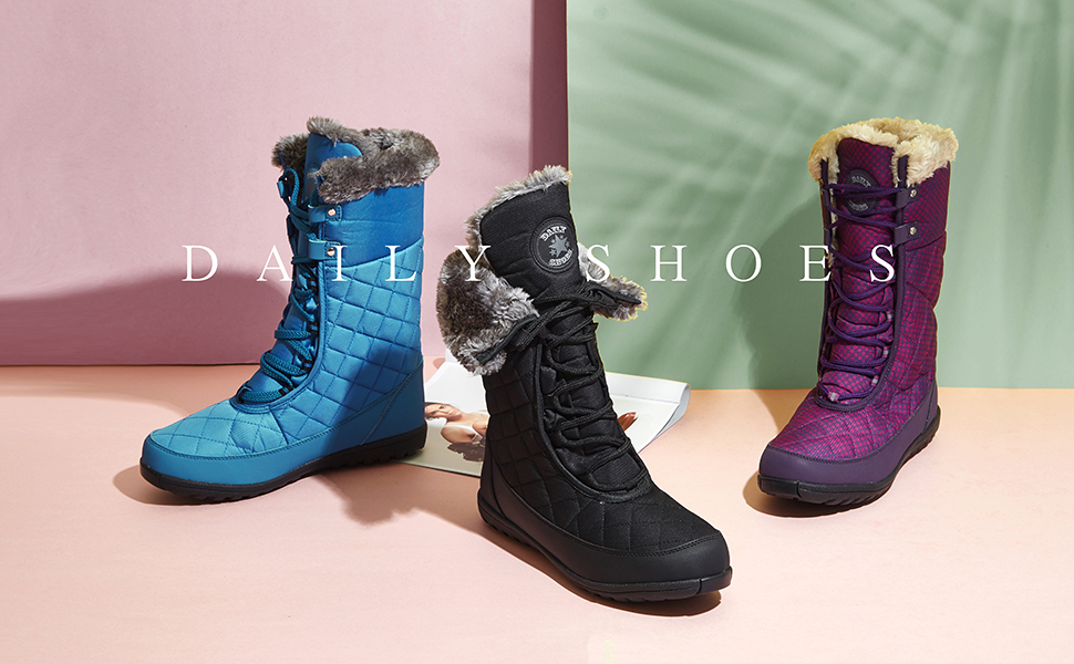 Womens Snow Boots,Nevera Winter Warm Wool Comfortable Flats Slip-on Walking Short Boots Shoes