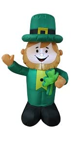 Lighted St Patricks Day Inflatable Leprechaun Shamrock Lucky Indoor Outdoor Lawn Yard Decoration