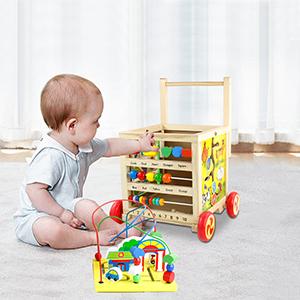 Juguetes Bebes 1 Año Andador Bebés Carrito de Primeros Pasos Correpasillos Bebe Juguete Madera con Laberinto de Cuentas Montaña Rusa, Juguetes ...