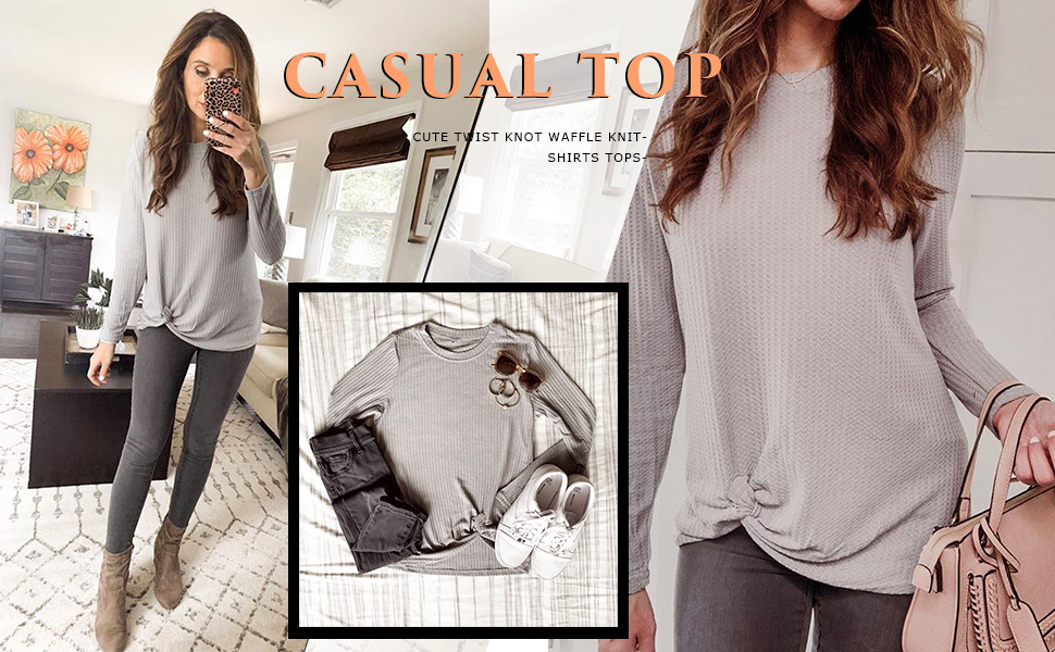 Light Grey Knotted tunic tops for leggings for women tunics to wear with leggings and boots