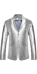 mens casual blazer shiny sequins luxury jacket sliver gold stage performance  wedding