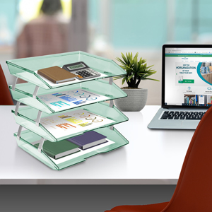 acrimet facility letter tray 4 tier side load clear blue color