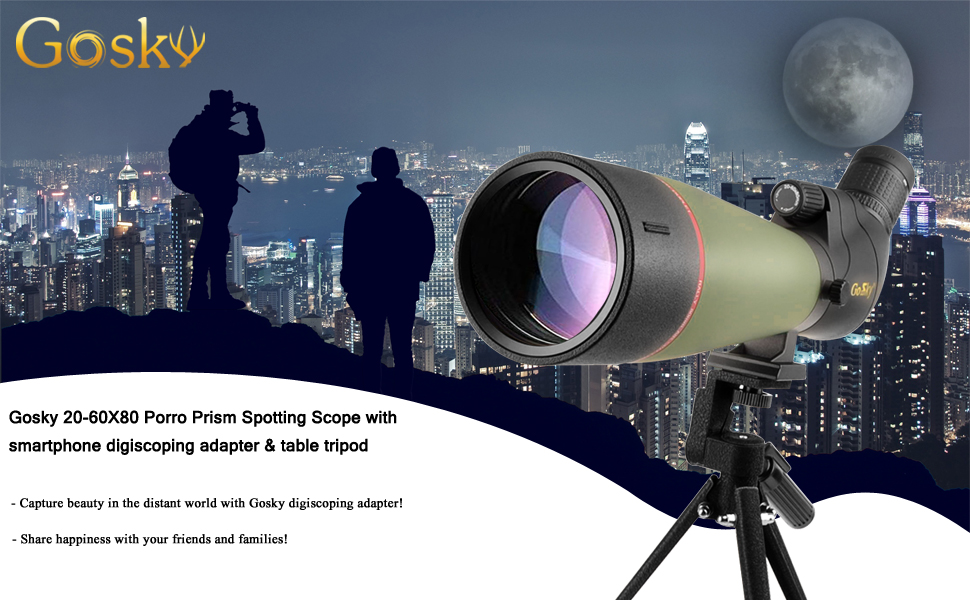 Carrying Bag and Smartphone Adapter Gosky 20-60x80 Spotting Scope with Tripod