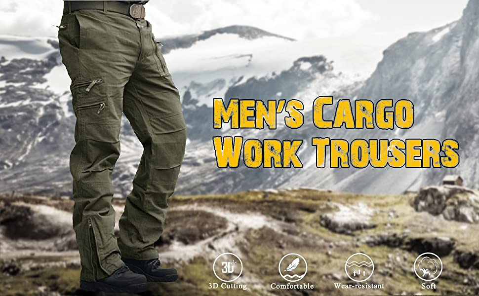 MAGCOMSEN Mens Cargo Work Trousers Cotton Pants Outdoor Camping Hiking Trousers