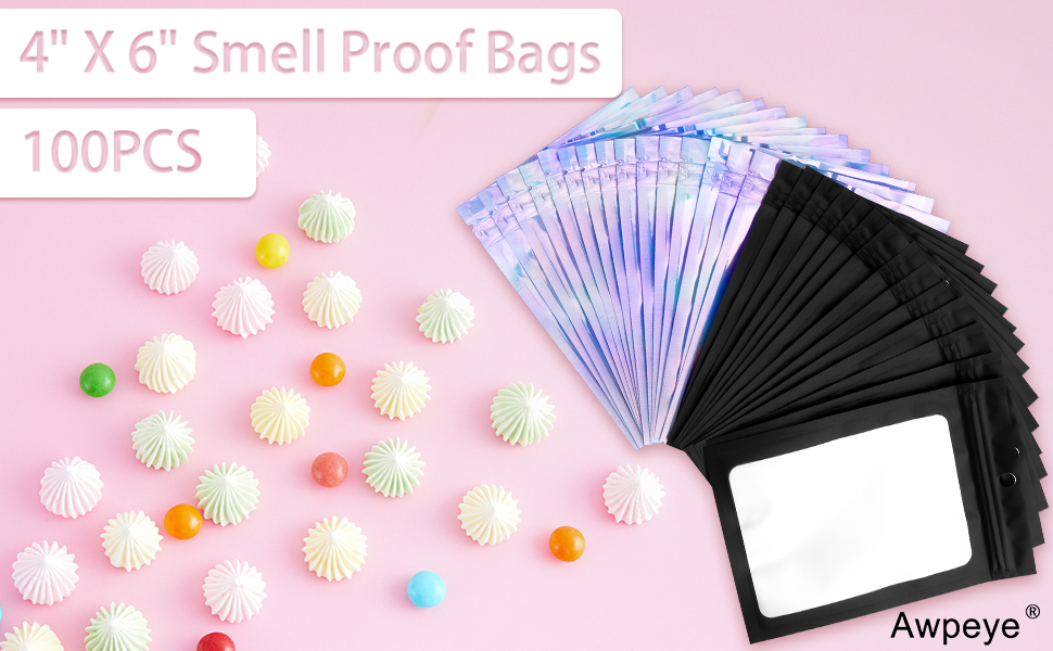 100 PCS Holographic Bags Packaging (4 X 6 Inch), Smell Proof Bags Flat Ziplock Bag for Packaging Products (Rainbow Color and Black)