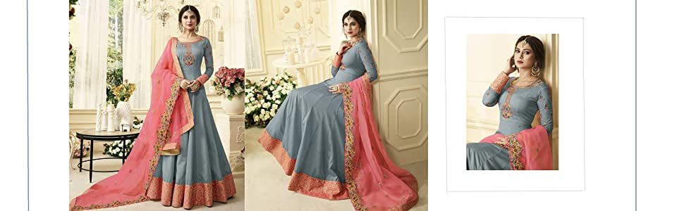 Grey embroidery Anarkali Gown