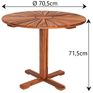 Casaria Mesa de jardín redonda de Acacia Sunrise Ø 70, 5 cm Marrón pre-aceitada muebles de jardín terraza patio balcón: Amazon.es: Jardín