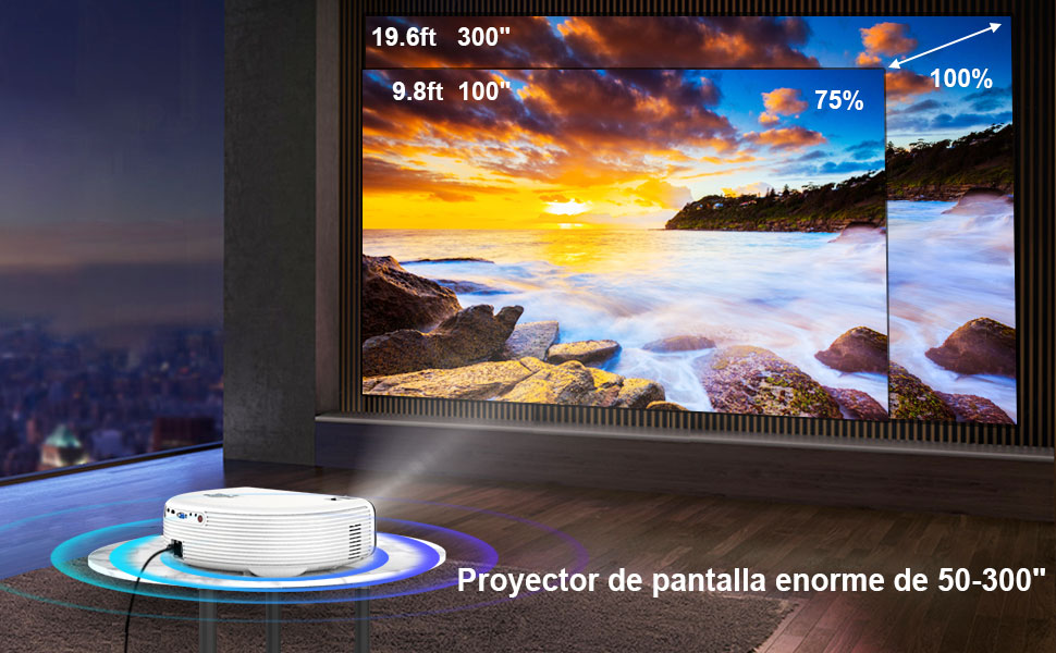 Proyector, WiMiUS 7000 Lúmenes Proyector Bluetooth Full HD 1920x1080P Vídeoproyector Soporta 4K Proyector Cine en Casa, 100,000H 300 Proyector LED para TV Stick, PS4, PC: Amazon.es: Electrónica