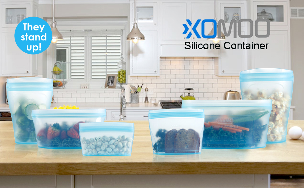 Reusable food container silicone bag