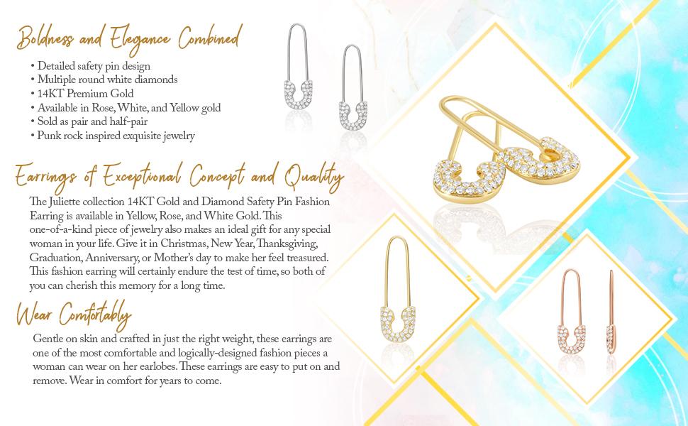 pin earrings ear pins for pierced ears rocker jewelry punk earrings for women ear threader earrings