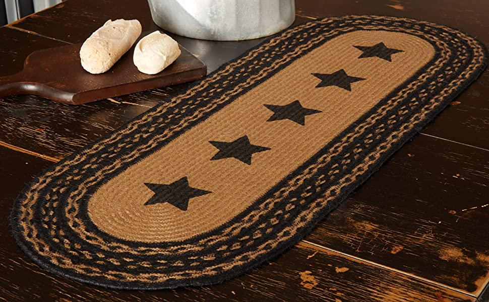 Farmhouse Jute Runner primitive country rustic Americana VHC Brands kitchen tabletop braided