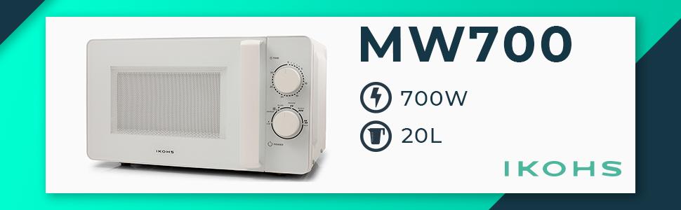 IKOHS Microondas MW700 - Microondas, 700W,Capacidad de 20L, 6 Niveles de Potencia, Temporizador hasta 30 minutos, 33.5x45.0x25.0 cm