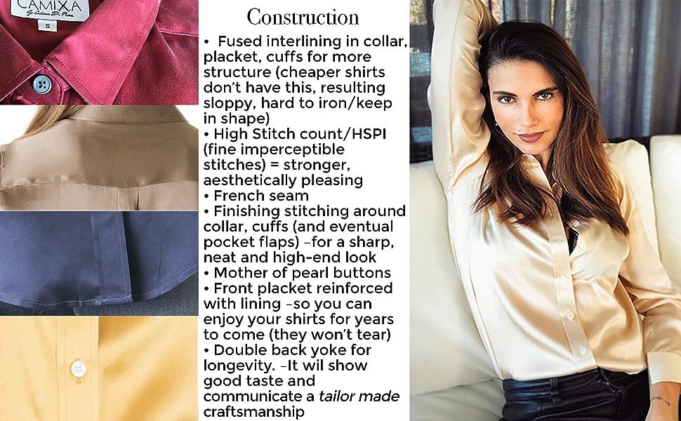 satin silk shirt blouse women's real pure