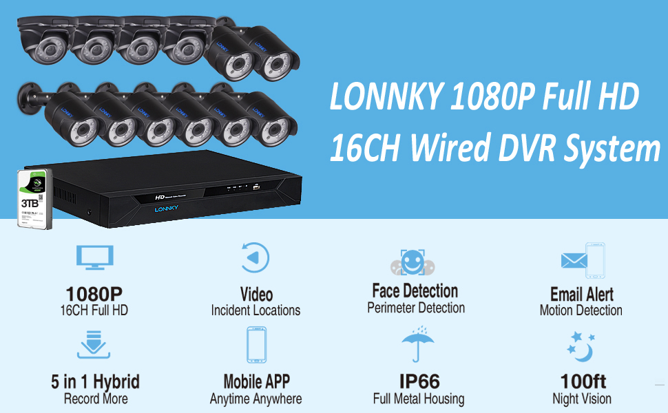 1080p 16CH DVR with 12PCS Cameras and 3TB HDD