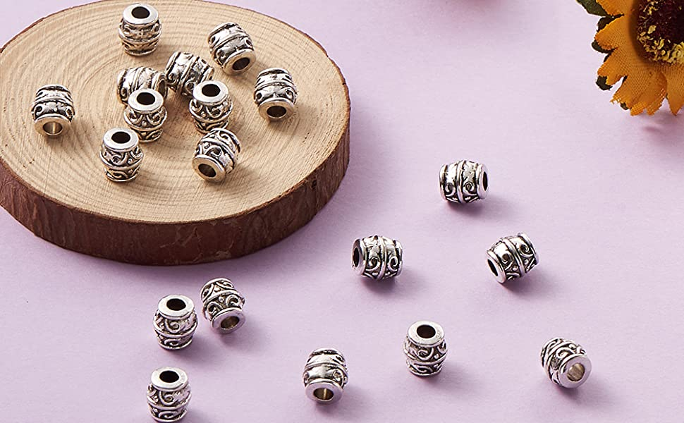 Tibétain Bar Spacer Beads 7 x 19 mm argent antique 20 pcs Art Hobby À faire soi-même Bijoux
